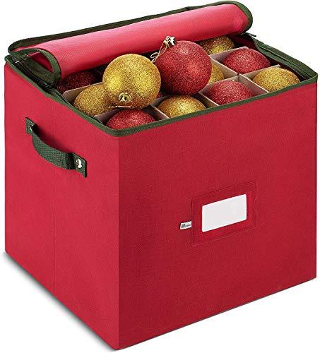 ZOBER Christmas Ornament Storage Box with Zippered Closure