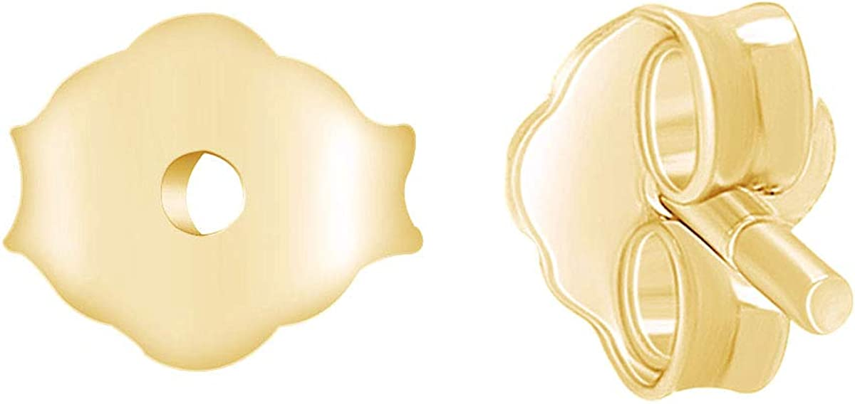 14K Solid Gold Butterfly Nuts Replacement Stud Earring Back Pair