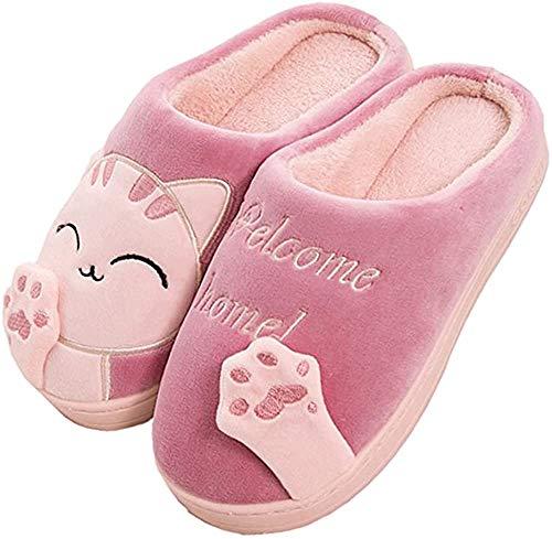 JACKSHIBO Herren Hausschuhe, Warme Plüsch Hausschuhe Indoor rutschfeste Slippers Cartoon Cat Pantoffeln Für Damen, Rot, 40/41 EU