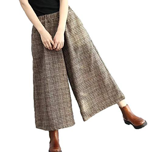 Flygo Womens Casual Loose Wool Blend Plaid Cropped Wide Leg Pants Trousers (One Size (US S-L), Coffee)