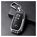 YUJIEXING YJSH Alloy + Cuero Temizonte Start Car Key Case Protector Cubierta Auto Accesorios Ajuste para Toyota Chr Rav4 Auris Avensis Prius Camry (Color Name : SilverB1)