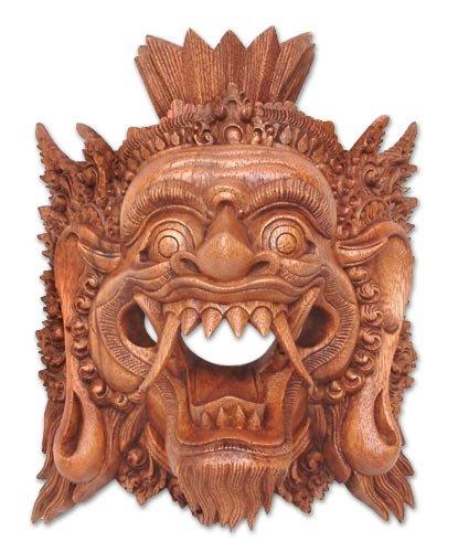 NOVICA Decorative Suar Wood Mask, Brown, Judge of The Netherworld'