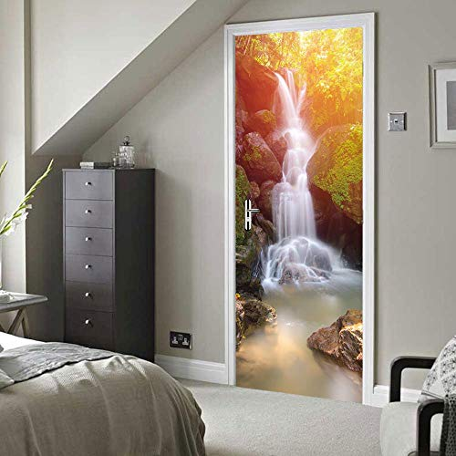 BXZGDJY 3D-deursticker, deurcilinder, waterval, deurbehang, zelfklevende 3D-deurposter, zelfklevende 3D-deur-raam-behang, verwijderbare deur-decoratie-plakaat muursticker voor doe-het-zelvers 80X200CM