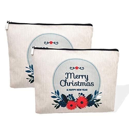 Merry Christmas Small Makeup Bags ,Waterproof Makeup Pouch Cosmetic Bags for Women, Christmas Zipper Pouch for Men / Women / Mom / Dad / Friend / Girl/ Teen / Teacher 2 PCS