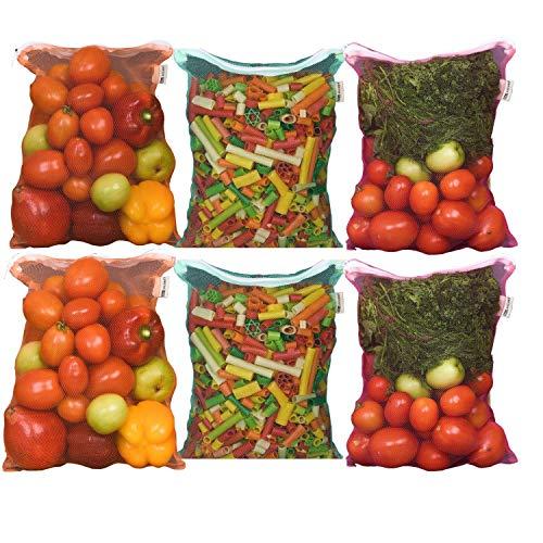 Earthy Fab Ziplock Bags for Fridge Storage, Vegetable Bags for Fridge Storage, Washable, Reusable, Multipurpose Fridge Bags. 27X33 cm, Pack of 6.