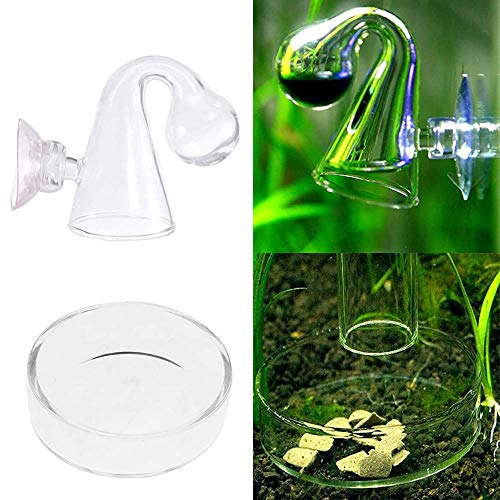 Juxing CO2 Dauertest Aquarium, CO2 Dauertest Drop Checker Test, CO2 Tester, CO2 Ball Checker Glas Monitortester für Aquarium/Süßwasseraquarium/Pflanzgefäße, mit Zufuhrschale