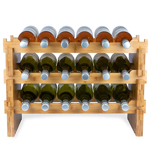 Bamboe Wijnrek voor 18 Flessen - 3 delig Bamboe Flessenrek - Modulair en Stapelbaar - Flessenhouder Staand - Blank Hout/Bamboe