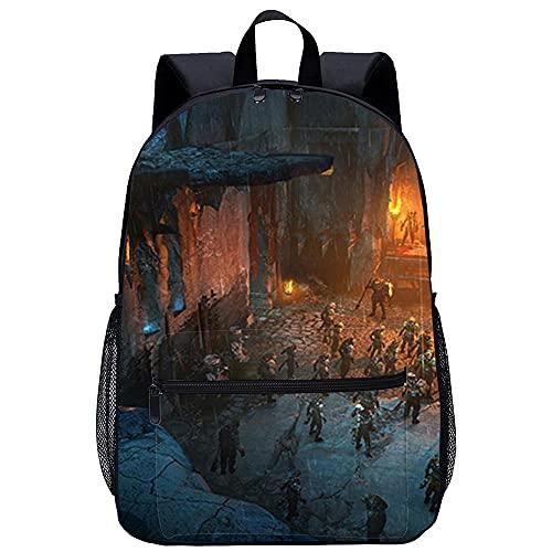 Mochila Infantil 3D mochila escolar -Sombra de la Tierra Media de Mordor-Adecuado para: estudiantes de primaria y secundaria, la mejor opción para viajes al aire libre-Tamaño: 45x30x15 cm / 17 pulga