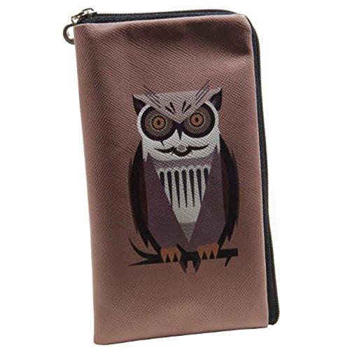 andyhandyshop Reißverschluss Softcase Eulen Owl Tasche für simvalley MOBILE SPX-34, Kunstleder, Mehrfarbig, 152 x 87 x 12mm