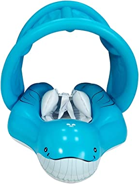 relaxing baby Inflatable Swimming Float Ring with Adjustable Sun Canopy Baby Swimming Pool Float with inflator Pump Anti-Slip