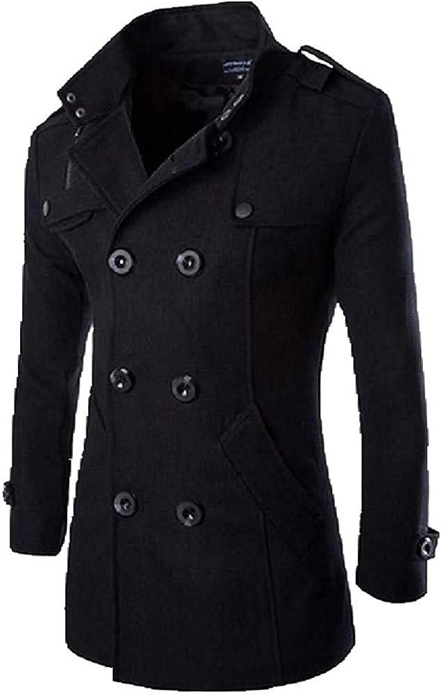 Autumn WinteMen's Jackets Fashion Casual Blend Jacket Male Woolen Coat Double Breasted Outerwear