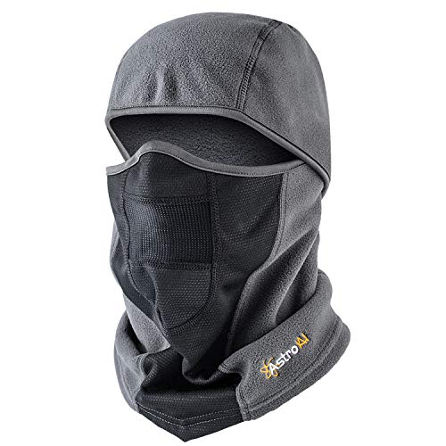 AstroAI Ski Mask Winter Balaclava for Cold Weather Windproof Breathable Face Mask for Men Women Skiing Snowboading & Motorcycle Riding, Grey