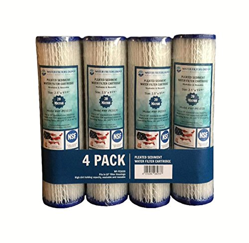 WFD, WF-PE1020 2.5'x9-3/4' 20 Micron Pleated Sediment Water Filter Cartridge, Fits in 10' Standard Size Housings of Undersink RO or Filtration Systems (4 Pack, 20 Micron)
