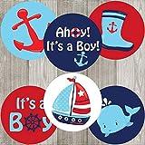 Ahoy Es un Chico etiquetas adhesivas Náuticas-Baby Shower gracias Sticker partido Favor-Set de 30