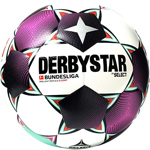 Derbystar Bundesliga 2020/21 Brillant Replica S-Light - Pallone da calcio, colore: bianco/magenta/menta 5
