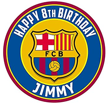 Cakecery FC Barcelona Barsa Edible Cake Topper Image Personalized Birthday Sheet Party Decoration Round