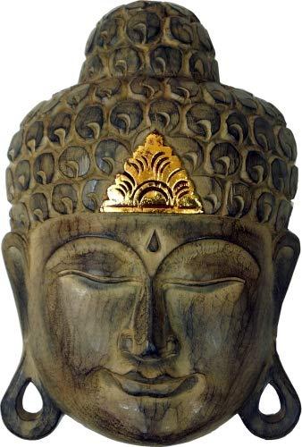Woru Buddha - Maske Gold, handgearbeitete Holz-Maske aus Bali, Wandmaske, Grösse:25 cm