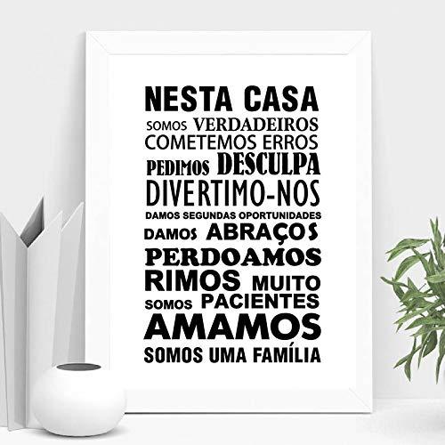 yaoxingfu Kein Rahmen Portugiesische Hausordnung-Drucke und Plakate Hauptwand-Dekor, portugiesisches Nesta casa Zitat-Moderne und unbedeutende Kunst ng 30x45cm