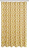 Biscaynebay Extra Long Textured Fabric Shower Curtains 72 Inches Width by 84 Inches Length, Gold Morocco Pearl Printed Bathroom Curtains Machine Washable