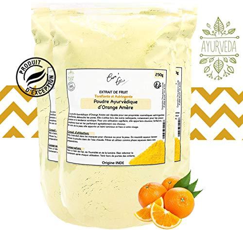 Poudre Ayurvédique d'Orange 250gr Cosm'Ethics® stimule et tonifie s'utilise en soin nettoyant, pour les peaux grasses et acnéique sachet refermable pour une conservation optimale