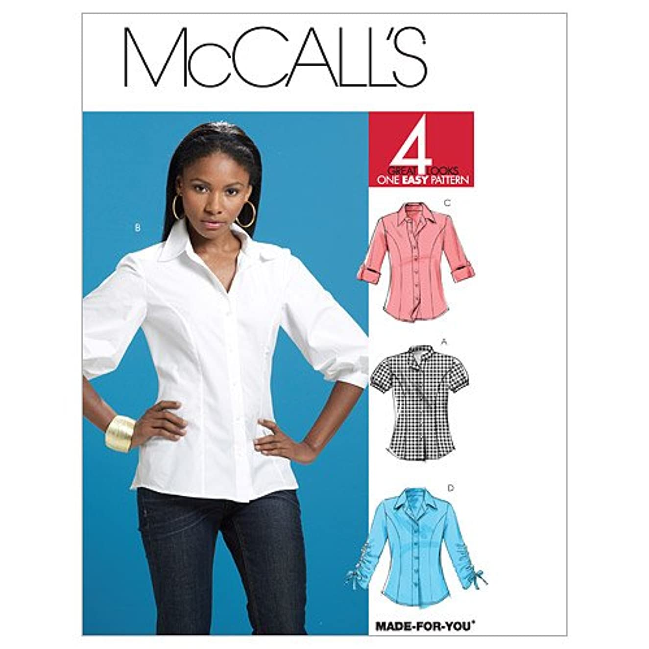 McCalls 4 Great Looks Made for You Pattern 6035 Misses Button Front Shirts Size 14-16-18-20-22