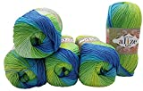 Bella Batik 7649 - 5 ovillos de 100 g de lana de algodón 100 % para tejer, multicolor (petróleo, turquesa, verde 7649)