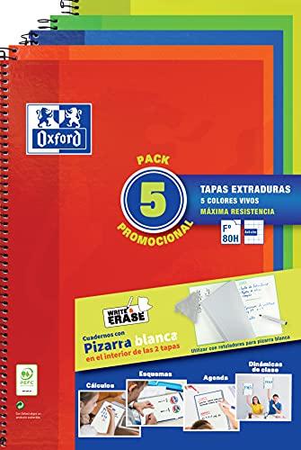 Oxford, Cuadernos A4 (Folio) Pack 5 Libretas Promoción. Tapa Extradura. 80 Hojas Cuadrícula 4x4. Surtido Colores Vivos.