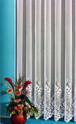 heimtexland Gardine, Vorhang, Store weiß aus hochwertigem Jacquardstore mit transparentem Oberstoff und Kräuselband, H X B 245 X 300 cm Typ10