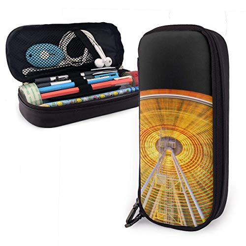 ZhaXiPingCuo Spinning Ferris Wheel Cute Pen Estuche Leather Big Capacity Double Zippers Pencil Pouch Bag Pen Holder Box for School Office Girls Boys Adults