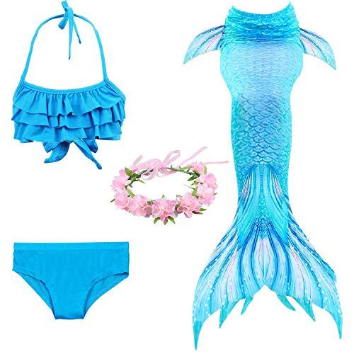 Jolie Sea-Maid MeerjungfrauenSchwänze zum Schwimmen Cosplay Badeanzug Mädchen Glänzend Mermaid Schwimmfähig Kostüm,Blue,130cm