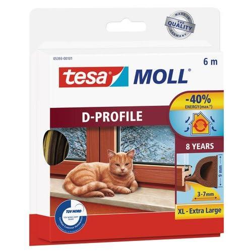 Burlete de caucho para ventanas perfil D tesamoll (6mx9mm), marrón
