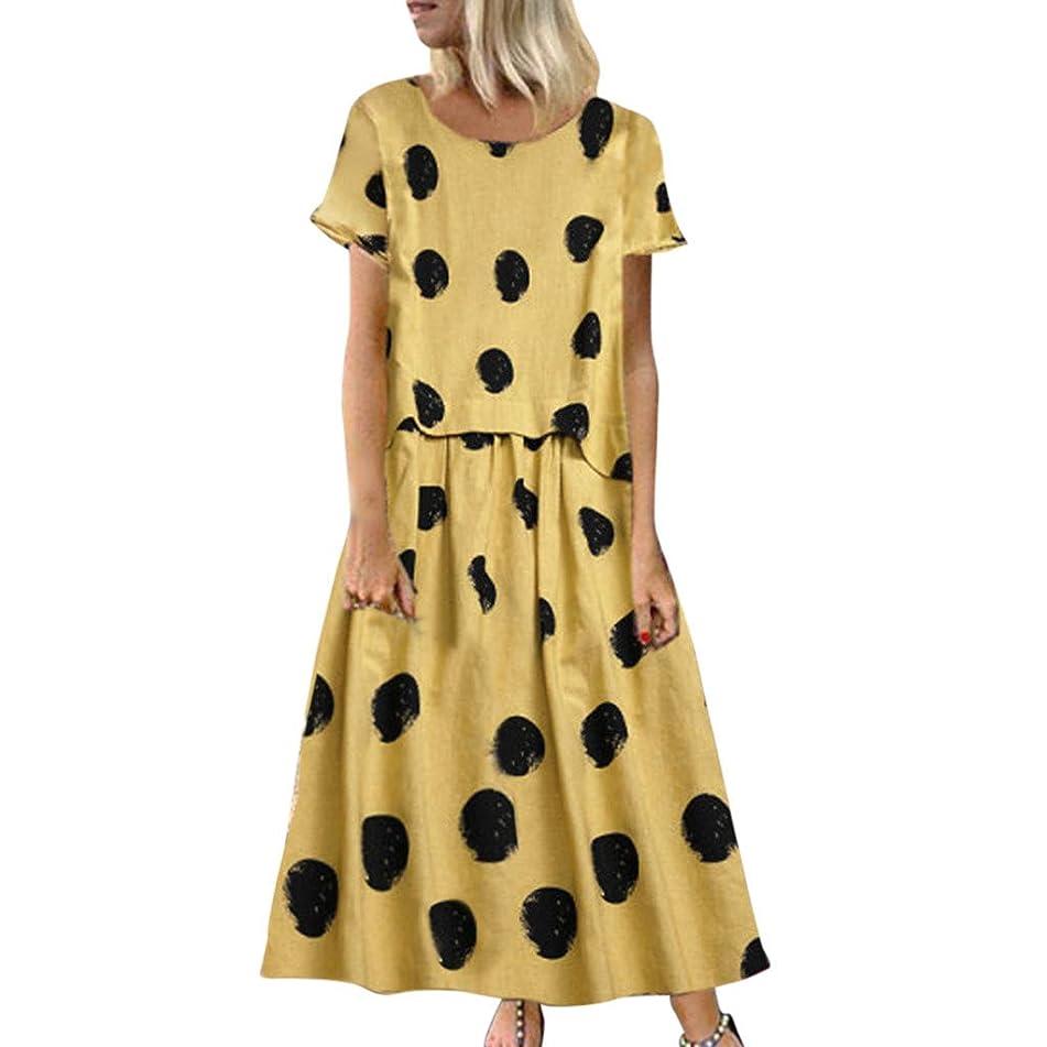WEISUN Linen Dress Women Summer Vintage Casual Polka Dot Print O-Neck Dress Short Sleeve Plus Size Maxi Dress