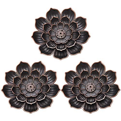 Rubywoo&chili 3 Stück Vintage-Räucherstäbchenhalter in Lotus-Form, mit Aschefänger, 5Löcher für Stick Räucherstäbchen Lotosblatt Räucherschale Zubehör