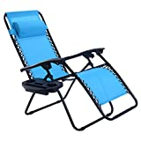 Goplus Folding Zero Gravity Reclining Lounge Chairs Outdoor Beach Patio W/Utility Tray (Light Blue)