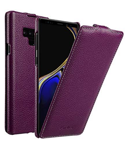MELCKO Tasche passend für Samsung Galaxy Note 9 / SM-N960, Flip-Hülle, Ultra-Slim Cover, Schutz-Hülle klappbar, Hülle Außenseite aus beschichtetem Leder, Etui, Lila, Violett