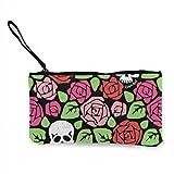 TTmom Carteras de Mujer,Monedero, Roses Sugar Skull Wallets for Women Card Holder Zipper Purse Phone Clutch Wallet Wristlet with Wrist Strap