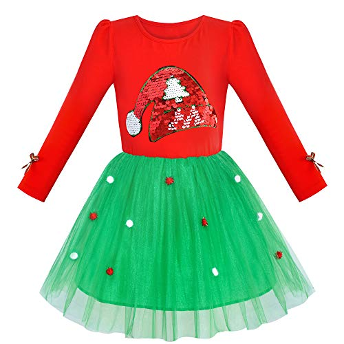 JV94 Girls Dress Christmas Santa Hat Long Sleeve Party Dress Size 10 Red