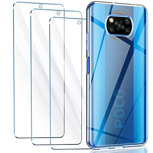 Leathlux Poco X3 NFC Hülle + [3 Stück] Panzerglas,Durchsichtig Case Transparent Silikon TPU Schutzhülle Premium 9H Gehärtetes Glas für Poco X3 NFC
