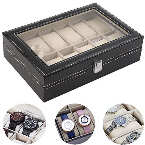 Porta Relógios Caixa Estojo Para 12 Relógios Luxo CBRN10493