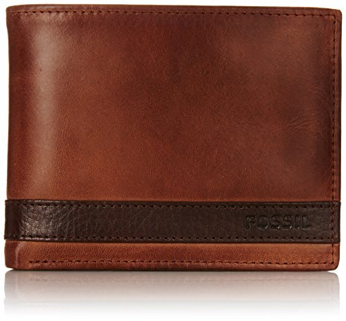 Fossil Men's Quinn L Bifold Wallet, Brown Zip, One Size