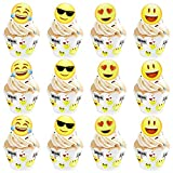 MOOKLIN ROAM 48 Stück Emoji Cupcake Toppers und Cupcake Wrappers Emoji Mini Dekoration Supplies...