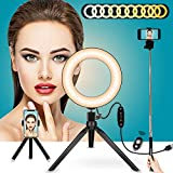 """LED Ring Light Stand 6"""",11 Level Brightness 5 Colors Selfie Ring Light with Tripod Stand & Selfie Stick & 2 Phone Holder Camera Light Desktop Lamp for Makeup YouTube Video Light with Bluetooth Remote"""