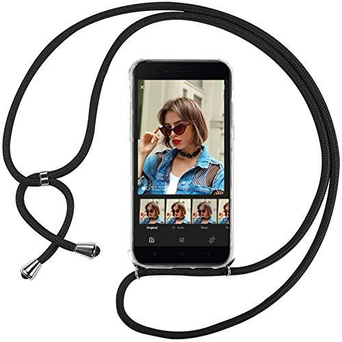 Mi-Case MiCase Funda con Cuerda para Xiaomi Mi 5X   Mi A1, Carcasa Transparente TPU Suave Silicona Correa Colgante Ajustable Collar Correa de Cuello Cadena Cordón - Negro