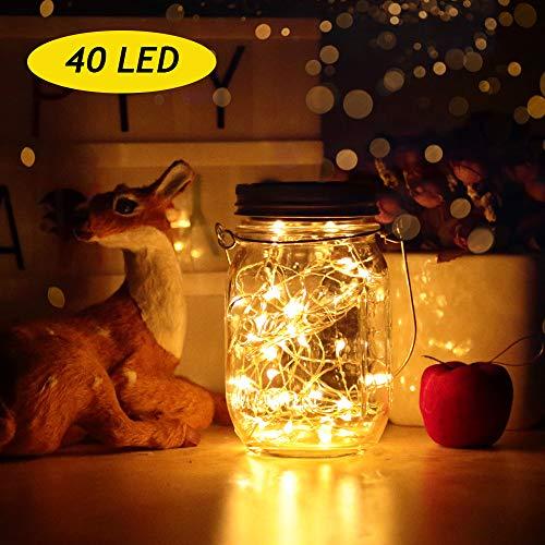 Solarlampen Außen | led solar licht Einmachglas | infinitoo Solarglas 2M 40er led Kupferdraht leuchten Außen Garten Laterne Solarleucht Wasserdichte Garten Hängeleuchten