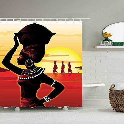 SZJJI 3D Style de caractère imperméable à l'eau Polyester Douche Rideau avec 12 Crochets pour décor de Salle de Bain, sans moisissure, 72 x 72 Pouces, Femme Africaine avec Bassin de la tête