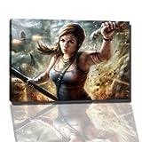 lara croft Bild auf Leinwand -- 60x40 cm fertig gerahmte