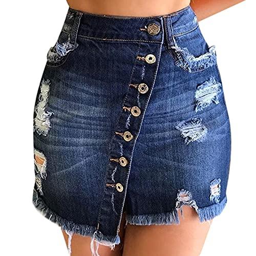 S-UN Denim RöCke füR Damen Zerrissen Roher Saum Tasten Jeans Mini-Rock Sommer Hohe Taille Stretch Waschung Denim Kurze Hose Biker-Shorts Female Jeansrock