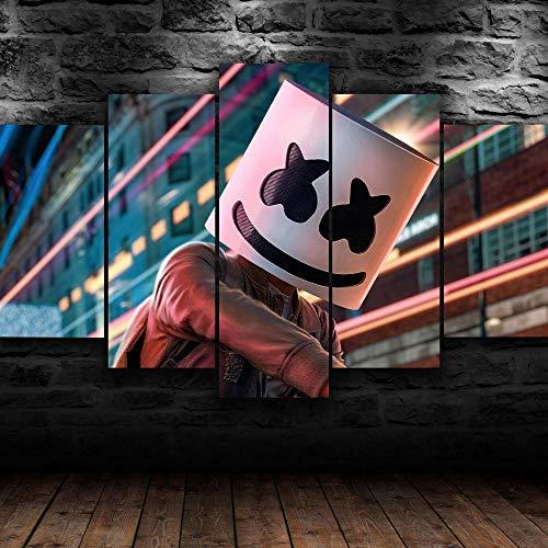45Tdfc Cinco módulos, Pintura de la Lona Pintura Pinturas Decorativas 200x100CM DJ Electro Músico Impresiones del Arte de la Pared Cartel Decoración del hogar Lienzo Cuadros modulares para Sala