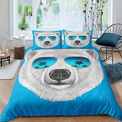 Rnvvaceo 3D Cute animal dog with sunglasses Duvet Set, Easy Care Quilt Cover and Pillowcases, Super Soft Bedding, Poly-Cotton, Single size 135 x 200 cm 100% Polyester, Boy bedding