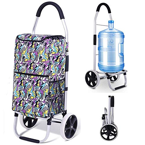 lqgpsx Shopping Trolley On 2 Wheels Foldable Compact with Removable Bag,Waterproof Heavy Duty Extra Large Grocery Bag Push/Pull Carts with Stair-Climbing Function for Young and Old,B